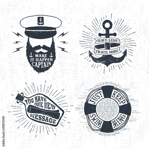 Fotografía  Hand drawn textured vintage labels set with captain, anchor, lifebuoy, letter in a bottle vector illustrations, and inspirational lettering
