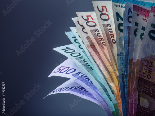 Valokuva  Several hundred euro banknotes stacked by value