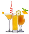 Set of orange cocktails with decoration from fruits and colorful straw isolated on white background