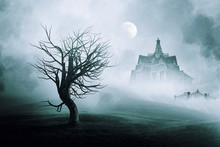 Haunted  House With Full Moon  .