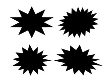 Black Bursting Star Shapes