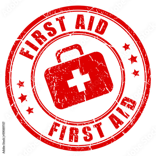 First aid rubber stamp Fototapet