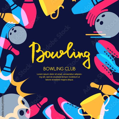 Vector Bowling Square Banner Poster Or Flyer Design Template Frame Background With Ball Pins Shoes And Hand Drawn Calligraphy Lettering