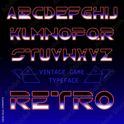 Retro font / gradient included old games font / futuristic font from
