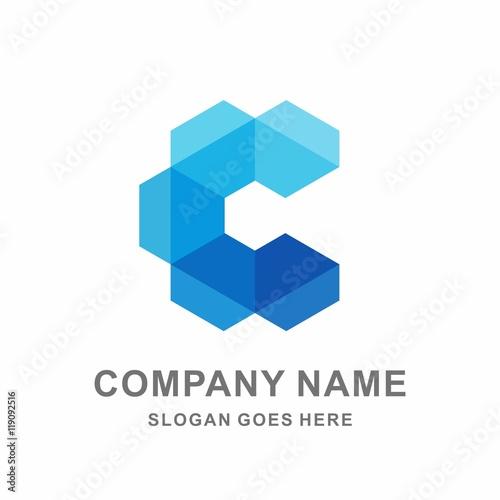 monogram letter c geometric hexagon shape box space vector logo