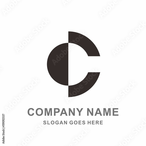 Monogram Letter C Simple Circle Shape Negative Space Vector Logo Design Template
