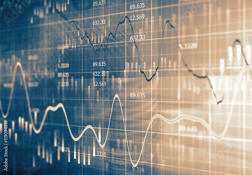 Financial data on a monitor Fototapete