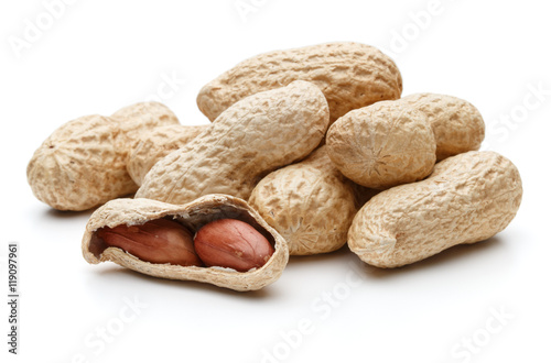 Photo peanut pod or arachis isolated on white background cutout