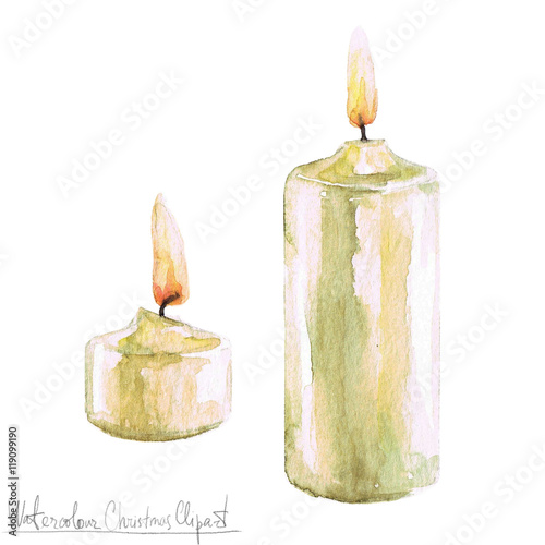 Montage in der Fensternische Aquarell Abbildungen Watercolor Christmas Clipart - Candles
