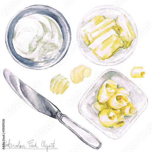 Canvas Prints Watercolor Illustrations Watercolor Food Clipart - Butter
