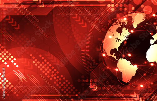 Fototapety, obrazy: Abstract red world and technology background