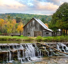 Barn And Waterfall