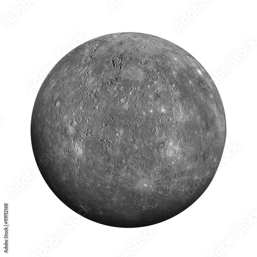 Fotografie, Obraz  Solar System - Mercury. Isolated planet on white background.