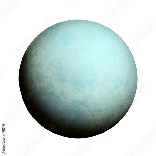 Plakat  Solar System - Uranus. Isolated planet on white background.