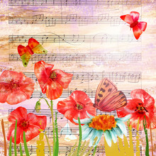 Vintage Collage With Butterflies, Poppies, And Sheet Music