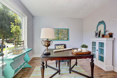 Home Office Interior Vintage Wooden Desk In Old Style House