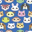 Animal heads seamless pattern