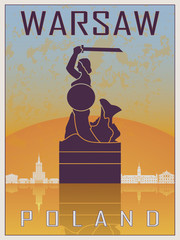 Fototapeta Industrialny Warsaw Vintage Poster