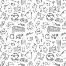 Sports Pattern With Soccer/Football Symbols In Hand Draw Style.