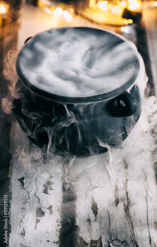 stock photo: witch cauldron with fog