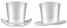White Top Hat. Frontal And Three Quarter Views. Vector Illustration.