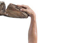 Hand Clinging On Rock / Business Concept