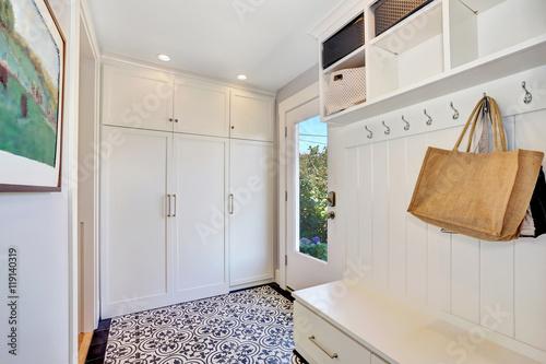 Billede på lærred White hallway interior.  Storage cabinet with hangers