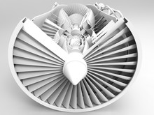 Jet Engine. 3D Illustration. 3D CG. High Resolution.