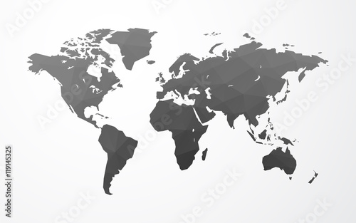 Fotografie, Obraz  vector world map illustration low poly