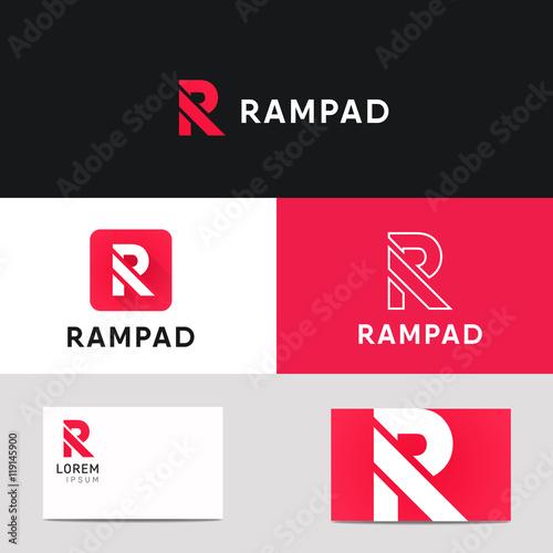 Photo  R letter logo sign vector element icon. Label brand identificati