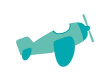Flat Design Toy Airplane Icon Vector Illustration