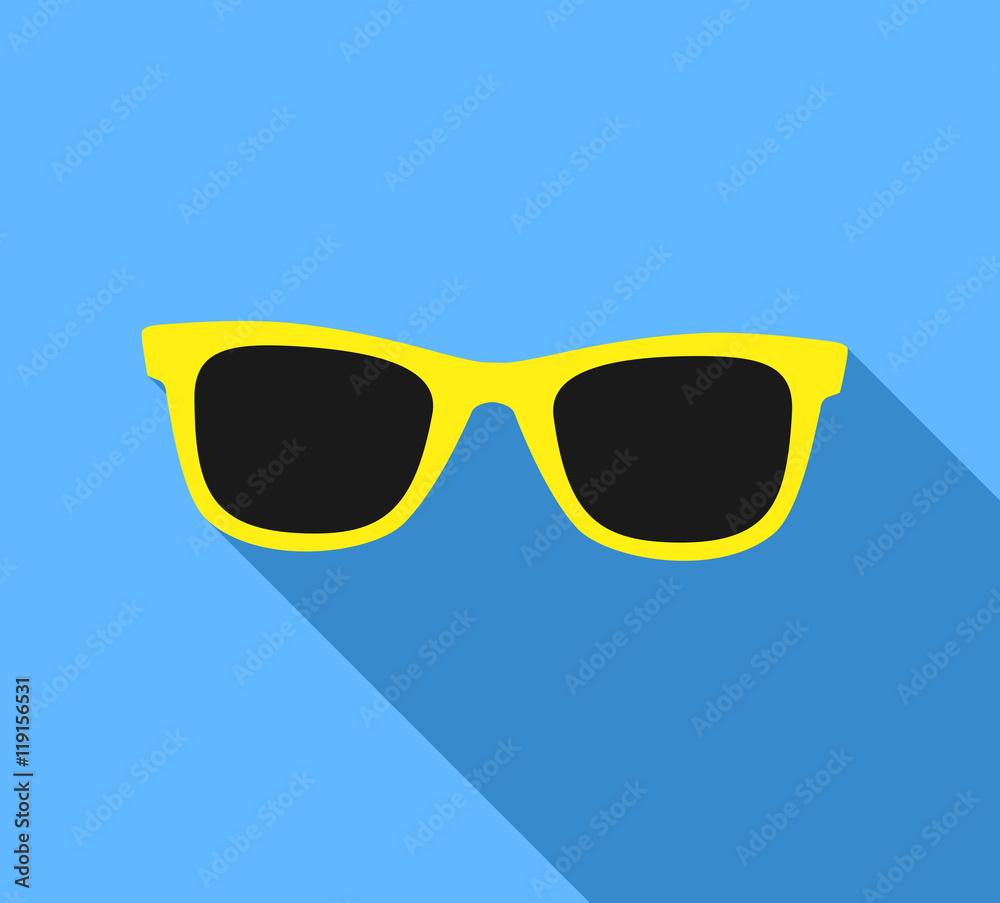 Fototapeta Yellow Sunglasses icon with long shadow. Flat design style.