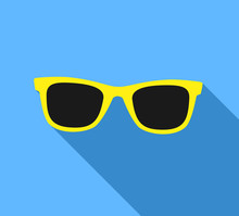 Yellow Sunglasses Icon With Lo...
