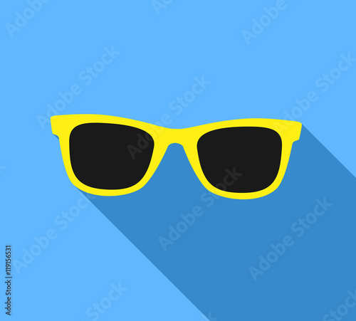 Obraz na plátne Yellow Sunglasses icon with long shadow. Flat design style.