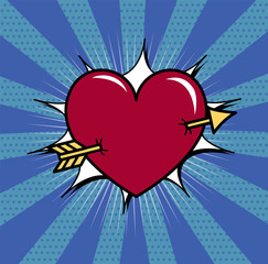 Heart pierced with arrow vector illustration. Eps 10