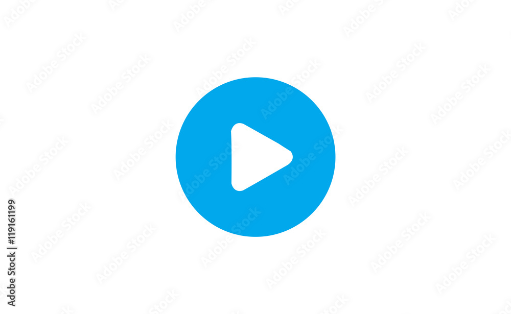 Fototapety, obrazy: Vector play button icon in circle on white background