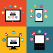 smartphone tablet computer mobile apps application online icon set. Colorful and flat design. Vector illustration