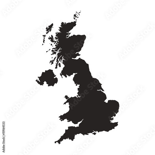 Carta da parati flat design great britain map silhouette icon vector illustration