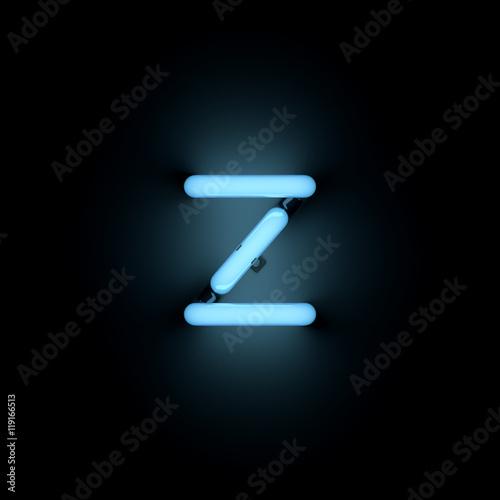 Fototapeta Letter z lower case blue neon alphabet collection obraz na płótnie