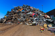 Landfill, Mountain Of Mixed Garbage In Landfill
