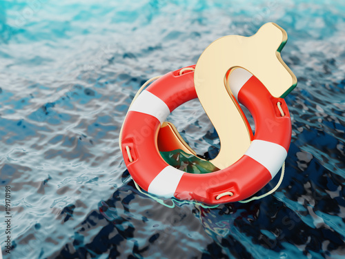 Fotografía  US Dollar Sign Inside of Lifebuoy in Water 3d Illustration