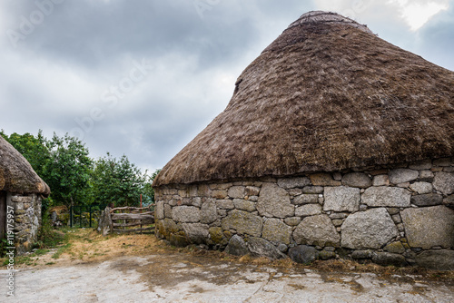 Palloza, traditional thatched roof house in Piornedo, Lugo (Spain)