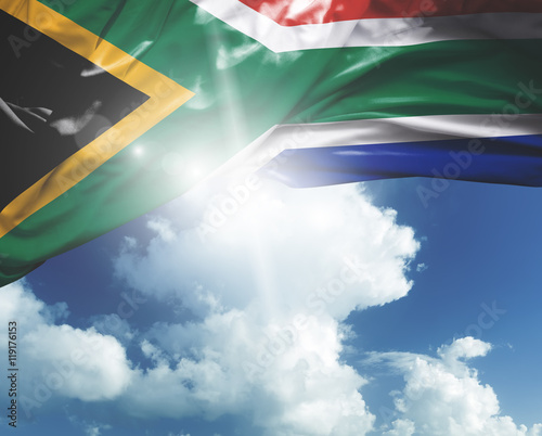 South Africa flag on a beautiful day