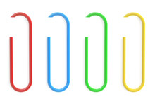 Colored Paperclips And Paper, 3D Rendering