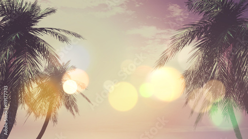 3D vintage palm tree landscape