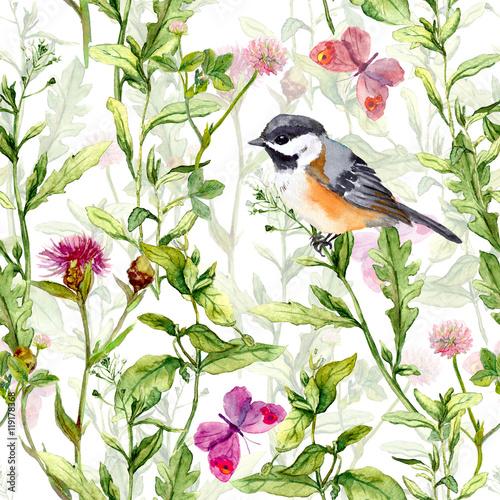 maly-ptak-w-wiosennych-kwiatow-laka-motyle-powtarzajacy-sie-wzor-akwarela