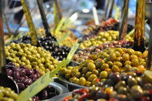 Marinated Olives On Street Market Closeup With Selective Focus