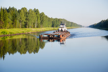 River Cargo Ship Goes From Moscow Canal