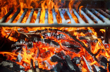 Glowing Coals In A Barbeque Coal Fire Smoke