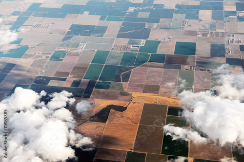 Poster Luchtfoto aerial view of farm field in California